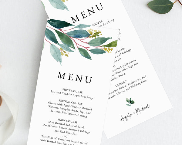 Greenery Wedding Menu Template, Printable Wedding Dinner Menu, DIY Greenery Wedding Menu Card, Instant Download, Templett, W28