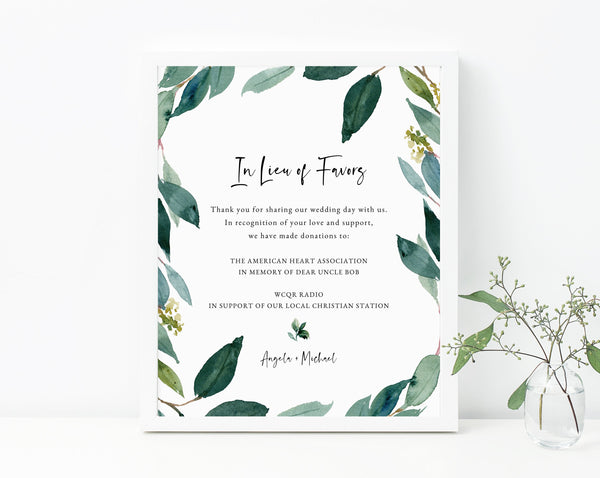In Lieu of Favors Sign Template, Greenery In Lieu of Favors Sign, Editable In Lieu of Favors Sign, Wedding Donation Sign, Templett, W28