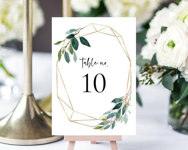 Greenery Wreath Wedding Table Number Template, Printable Wedding Table Numbers, Greenery Table Numbers Card Template, Templett, W28