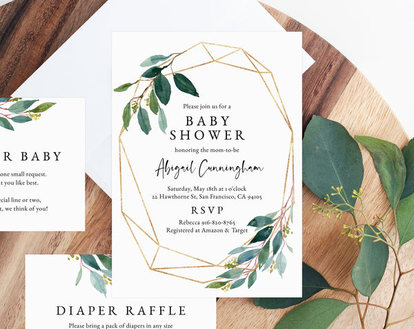 INSTANT DOWNLOAD Greenery Baby Shower Invitation Template, Printable Baby Shower Invitation, Baby Shower Invitation, Templett, B11