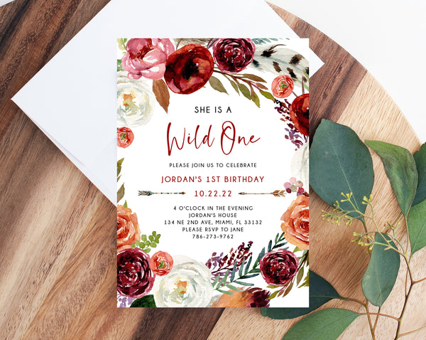 Wild One Invitation Template, Printable Wild One 1st Birthday Invitation, Boho Feathers First Birthday Party, Instant Dowload, Templett, B43