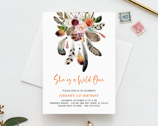 Wild One Invitation Template, Printable Wild One 1st Birthday Invitation, Boho Dreamcatcher First Birthday, Instant Dowload, Templett, B43