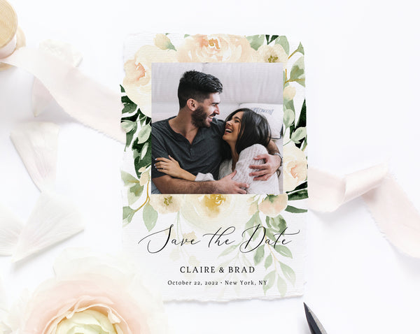 Peach Floral Save the Date Template, Printable Save the Date Photo Card, Editable Save Our Date Template Instant Download, Templett, W41