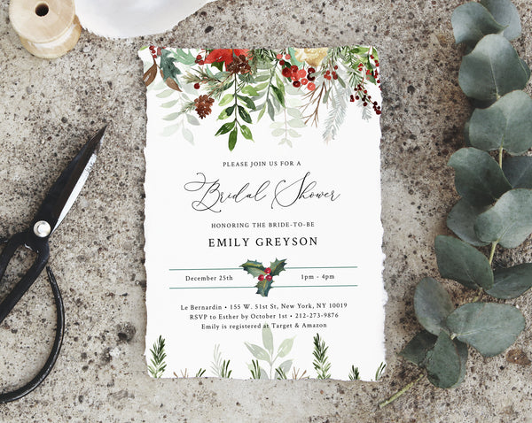 Winter Bridal Shower Invitation Template, Christmas Bridal Shower Invite, Holidays Evergreen Bridal Shower Invites, Templett, W46