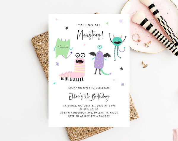 Monster Mash Invitation Template, Printable Pastel Halloween Birthday Invite, Kids Little Monster Birthday Party, Instant Download, Templett