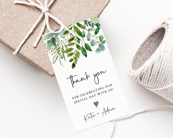 Greenery Wedding Favor Tags, Thank You Tag, Wedding Favor Tag, Eucalyptus Greenery Gift Tag, Editable Favor Label Printable, Templett, W48