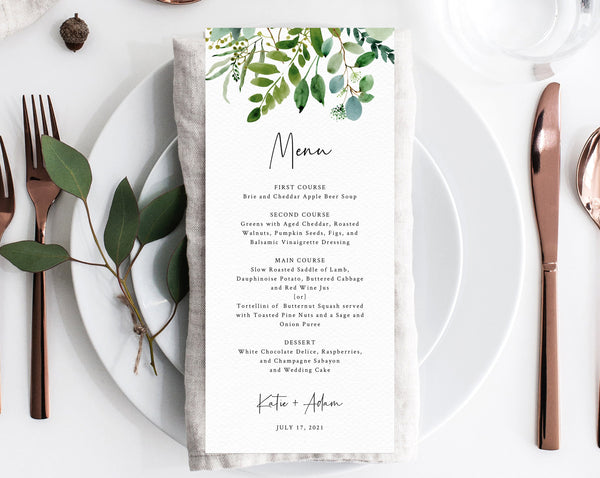 Greenery Wedding Menu Template, Printable Wedding Dinner Menu, Eucalyptus Greenery Wedding Menu Card, Instant Download, Templett, W48