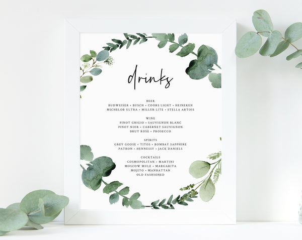 Greenery Bar Menu Sign, Botanical Garden Wedding Bar Sign Printable, Eucalyptus Drink Menu, Drinks Sign, Reception Decor, Templett, W48