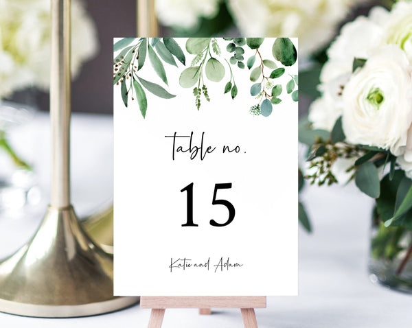 Greenery Wedding Table Numbers, Printable Wedding Table Numbers, Botanical Garden Table Numbers Card Template, Templett, W48
