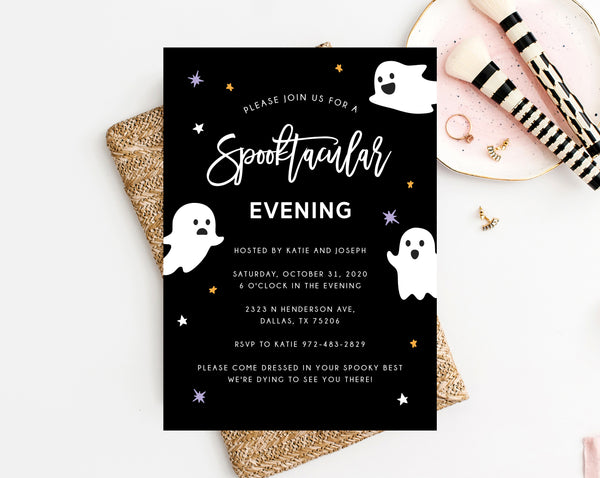 Spooktacular Halloween Party Invitation Template, Printable Halloween Costume Party Invite, Instant Download, Templett
