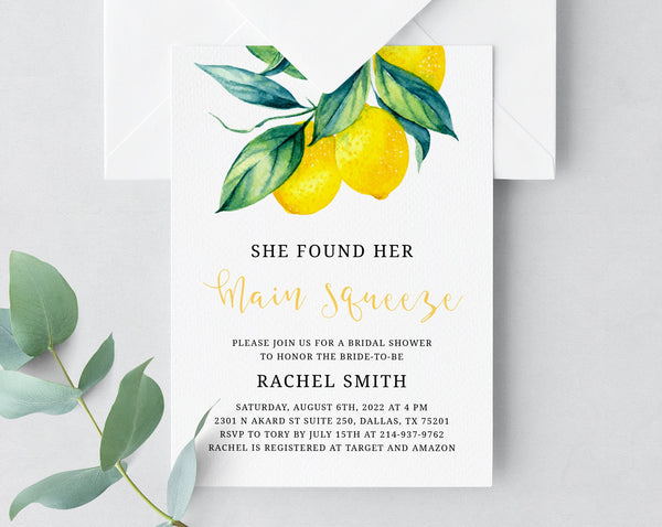 She Found Her Main Squeeze Bridal Shower Invitation Template, Printable Lemon Bridal Shower Invite, Bridal Shower Invite, Templett, W37
