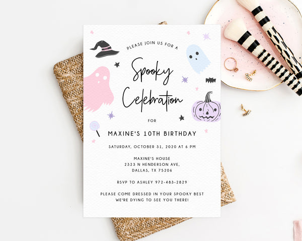 Halloween Party Invitation Template, Printable Pastel Halloween Birthday Invite, Kids Halloween Costume Party, Instant Download, Templett