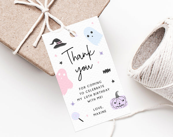 Halloween Party Favor Tag Template, Pastel Halloween Thank You Tag, Halloween Birthday Party Favor Tag, Gift Tag, Favor Label, Templett