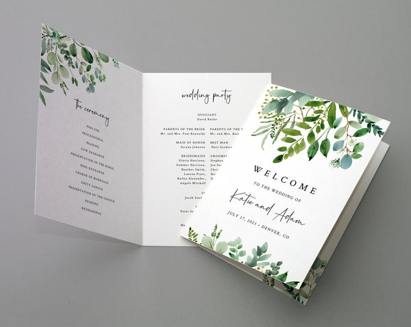 Bi-Fold Greenery Wedding Program Template, Printable Folded Wedding Program Booklet, Book Fold Order of Ceremony, Templett, W48