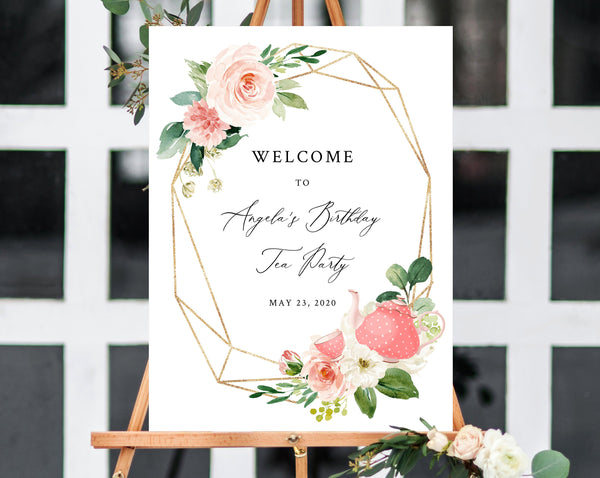Tea Party Welcome Sign Template, Printable Tea Party Birthday Welcome Sign, Blush Floral Tea For Two Welcome Sign, Templett