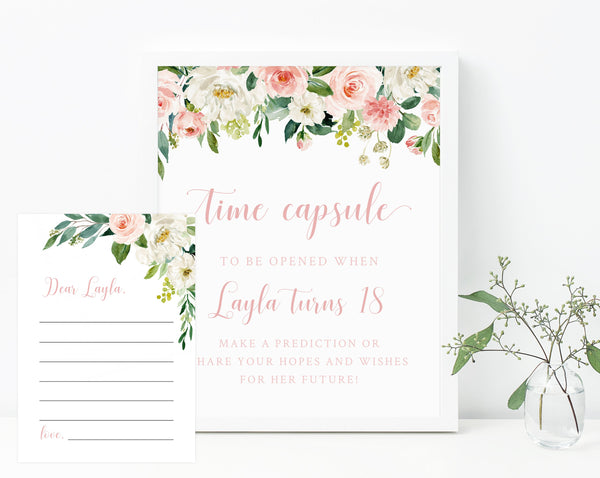 Miss Onederful Time Capsule Sign Template, One-derful Time Capsule, Editable First Birthday Time Capsule With Matching Cards, Templett