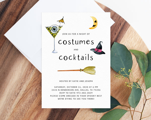 Costumes and Cocktails Halloween Party Invitation Template, Printable Halloween Costume Party Invite, Instant Download, Templett