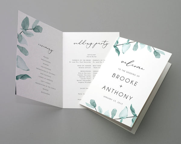 Bi-Fold Eucalyptus Wedding Program Template, Printable Folded Wedding Program Booklet, Editable Greenery Wedding Program, Templett, W21