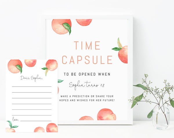 Peach Time Capsule Sign Template, Printable Peach Themed Time Capsule, Editable First Birthday Time Capsule With Matching Cards, Templett