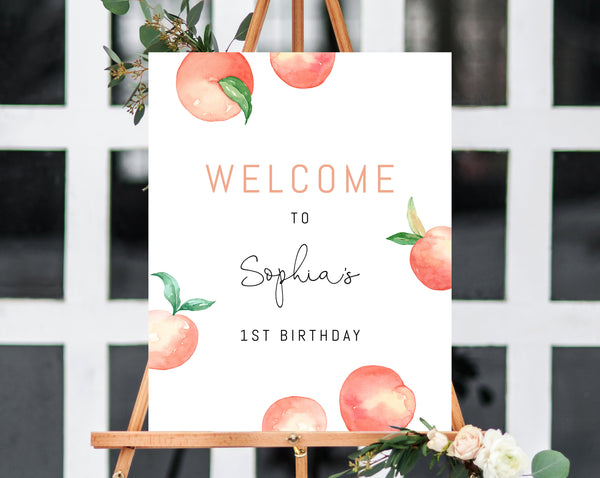 Peach Welcome Sign Template, Printable Peach Themed Party Welcome Sign, Peach Birthday Signs, Editable, Templett