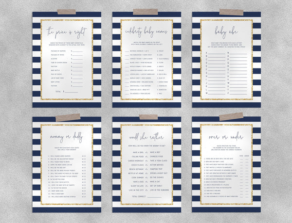 Navy Stripes with Gold Baby Shower Game Templates Bundle, Navy Baby Shower Games Instant Download, Templett, B03