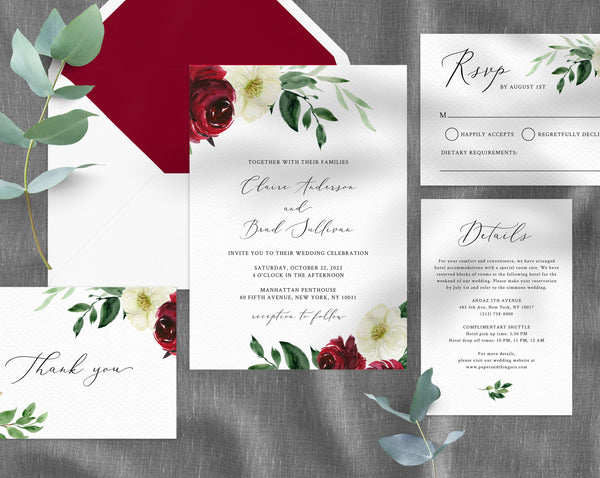 Burgundy Wedding Invitation Template, Printable Wedding Invitation Suite, Burgundy Floral Wedding Invitation Set, Templett, W49