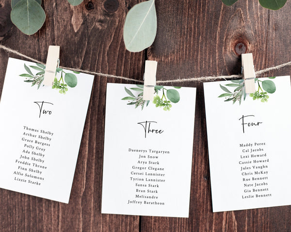 Wedding Seating Chart Template, Botanical Garden Seating Plan Cards, Greenery Wedding Table Card, Instant Download, Templett, W48