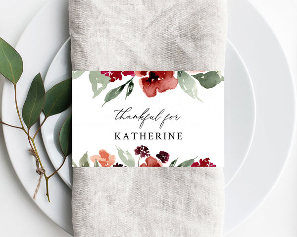 Thanksgiving Napkin Ring Template, Printable Thanksgiving Place Cards, Thankful For Place Cards, Editable Template, Friendsgiving, Templett