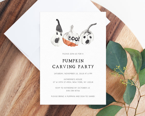 Pumpkin Carving Party Invitation Template, Halloween Party Invite, Pumpkin Carving and Cocktails Party Invitations, Templett