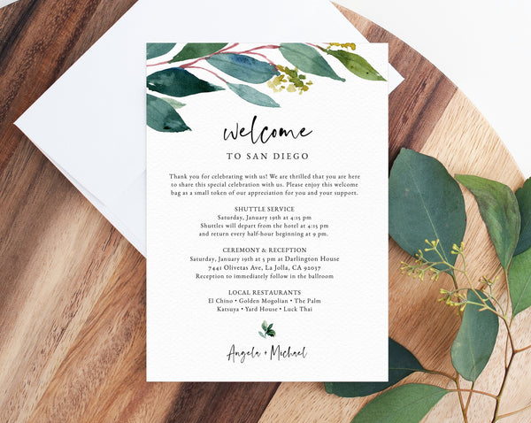 Greenery Welcome Letter Template, Wedding Itinerary Card, Welcome Bag Letter, Wedding Agenda, Printable Hotel Welcome Note, Templett, W28