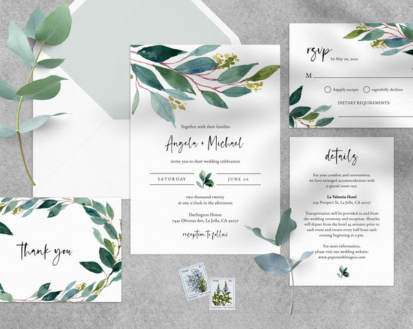 Greenery Wedding Invitation Template, Printable Wedding Invitation Set, Watercolor Greenery Wedding Invitation Digital File, Templett, W28B