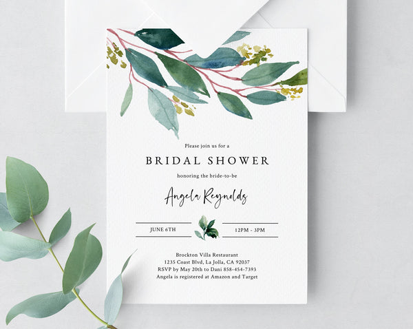 Bridal Shower Invitation Template, Printable Bridal Shower Invite, Greenery Bridal Invitation, Bridal Shower Invites, Templett, W28
