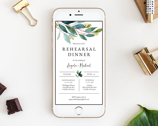 Greenery Rehearsal Dinner Invitation Template, Electronic Wedding Rehearsal Invite, The Night Before Rehearsal Phone Invite, Templett, W28