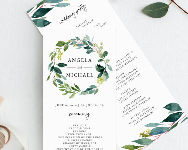 Greenery Wreath Wedding Program Template, Printable Wedding Program, Order of Service, Editable Ceremony Programs, Instant, Templett, W28
