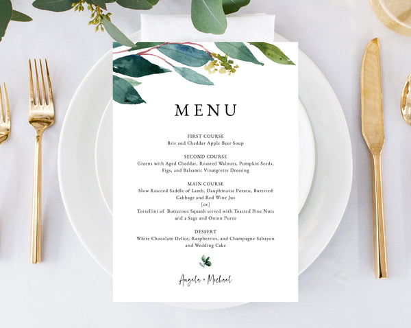 photo about Printable Wedding Menus known as Greenery Wedding day Menu Template, Printable Marriage Meal Menu, Do it yourself Greenery Wedding ceremony Menu Card, Quick Obtain, Templett, W28