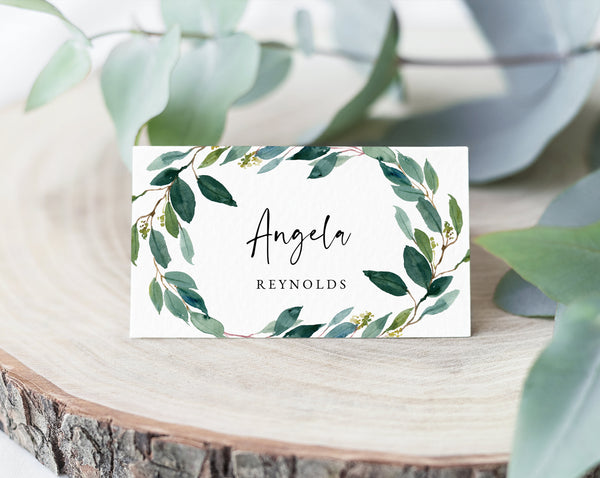 Greenery Wedding Place Cards Template, Seating Card, Wedding Table Cards, Printable Wedding Tent Cards, Instant Download, Templett, W28