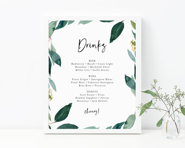 Bar Menu Sign, Wedding Bar Sign, Wedding Bar Menu Printable, Drink Menu Sign, Drinks Sign, Reception Decor, Instant Download, Templett, W28