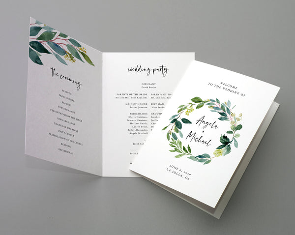 Bi-Fold Greenery Wedding Program Template, Printable Folded Wedding Program Booklet, Book Fold Order of Ceremony, Templett, W28