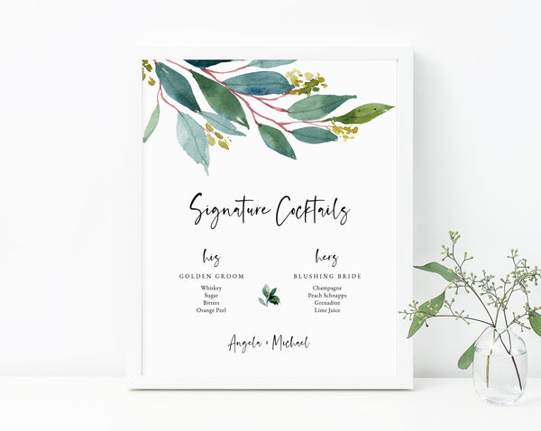 Greenery Wedding Signature Cocktails Sign Template, His and Hers Signature Drinks Menu Sign, Wedding Bar, Instant Download, Templett, W28