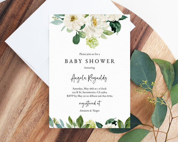 INSTANT DOWNLOAD Greenery Baby Shower Invitation Template, Printable Baby Shower Invitation, Baby Shower Invitation, Templett, B11C