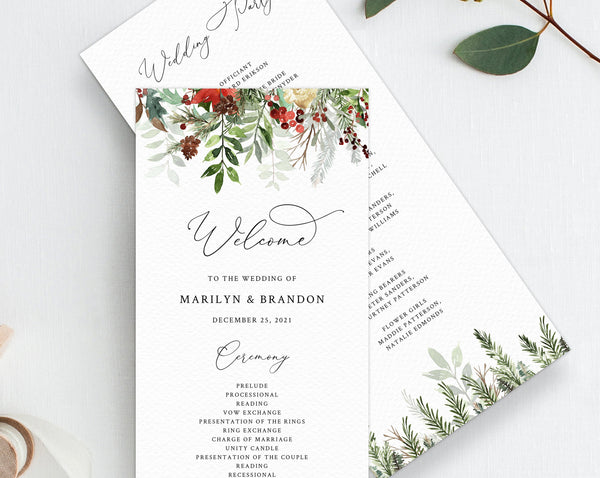 Christmas Wedding Program Template, Printable  Holidays Themed Wedding Order of Ceremony Card, Instant Download, Templett, W46