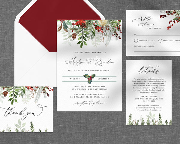 Winter Wedding Invitation Template, Printable Wedding Invitation Suite, Christmas Wedding Invitation Set, Holidays Themed, Templett, W46