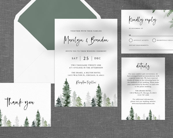 Pine Trees Wedding Invitation Template, Printable Winter Wedding Invitation Suite, Wedding Invitation Set, Holidays Themed, Templett, W47