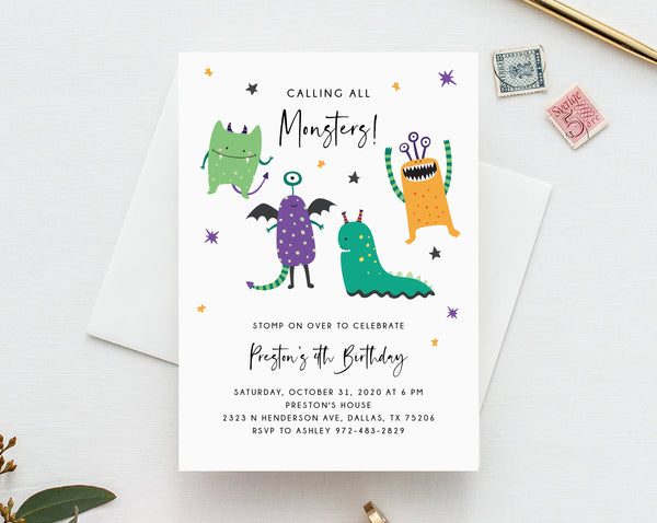 Monster Mash Invitation Template, Printable Halloween Birthday Invite, Kids Little Monster Birthday Party, Instant Download, Templett