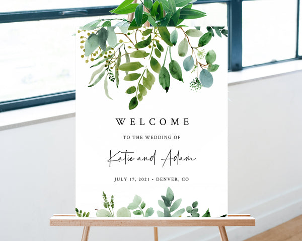 Greenery Wedding Welcome Sign Template, Eucalyptus Welcome to the Wedding Printable, Welcome Board, Instant Download, Templett, W48