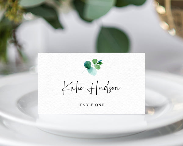 Greenery Wedding Place Cards Template, Eucalyptus Escort Cards, Printable Wedding Tent Cards, Instant Download, Templett, W48