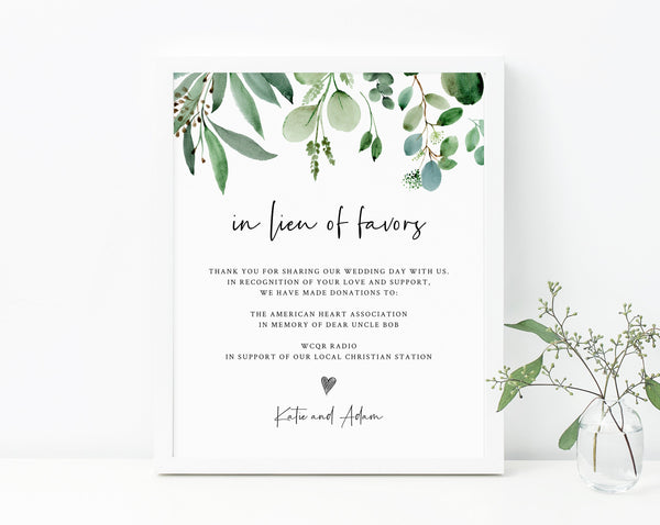 In Lieu of Favors Sign Template, Greenery In Lieu of Favors Sign, Editable In Lieu of Favors Sign, Wedding Donation Sign, Templett, W48