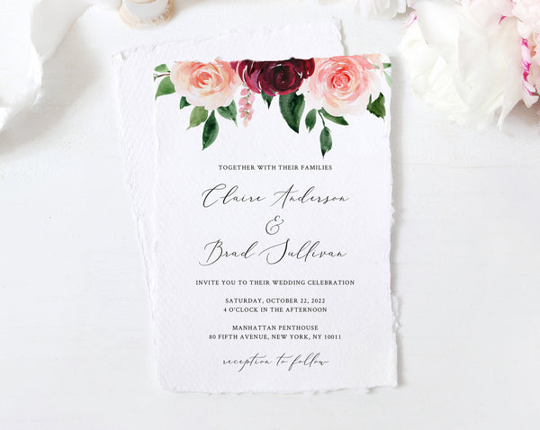 Burgundy Wedding Invitation Template, Printable Wedding Invitation Suite, Burgundy & Blush Floral Wedding Invitation Set, Templett, W49