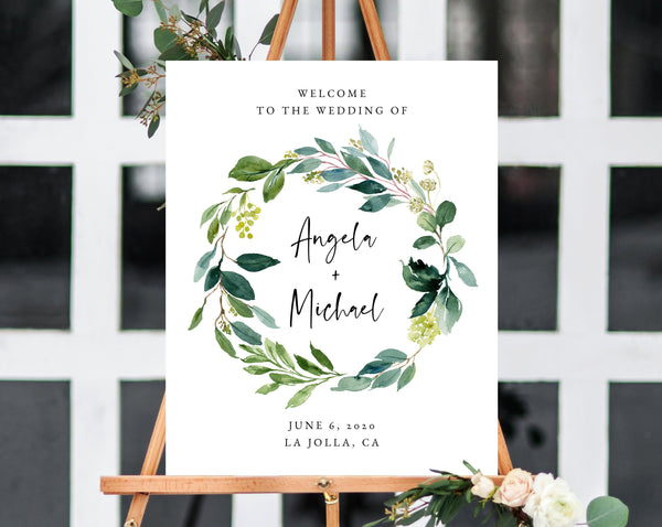 Watercolor Greenery Wedding Welcome Sign Template, Welcome to the Wedding Printable, Welcome Board, Instant Download, Templett, W28