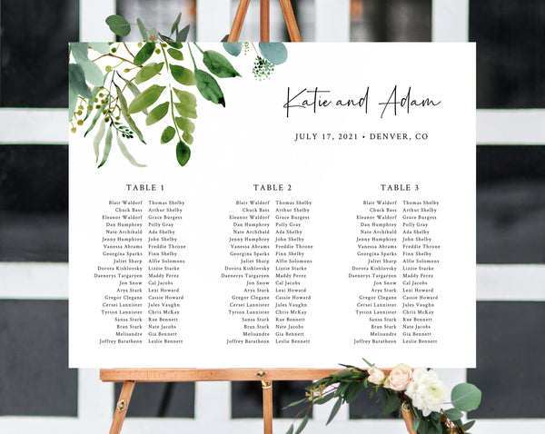 Greenery Wedding Seating Chart, Long Tables Seating Chart Printable, Seating Chart Template, Seating Board, Wedding Sign, Templett, W48